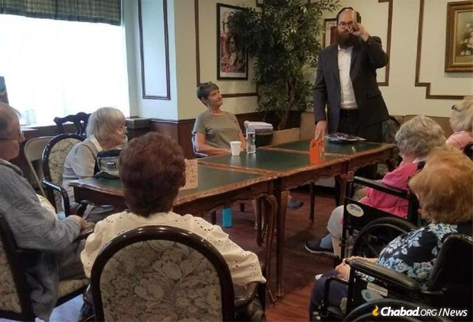 Rabbis, rabbinical students and volunteers will visit senior centers and the homebound around the world. In a photo taken last Elul, Rabbi Yosef Orenstein of Valley Chabad in New Jersey blew the shofar for residents in Allendale Senior Living Facility.