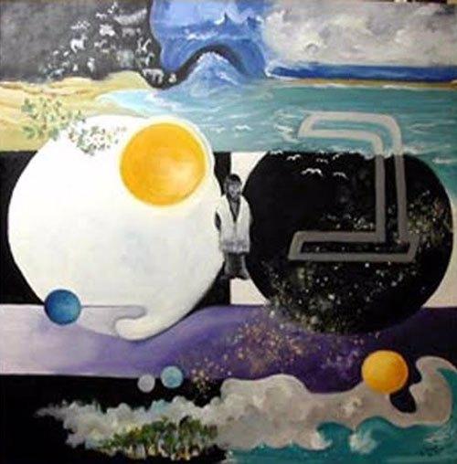 """""""Este quadro eu pintei enquanto ainda estava mentalmente frágil"""", diz James. """"Representa Bereshit, a Criação."""""""