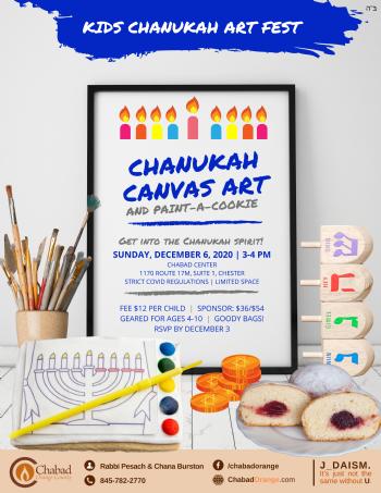 Kids Chanukah Canvas & Cookie Art