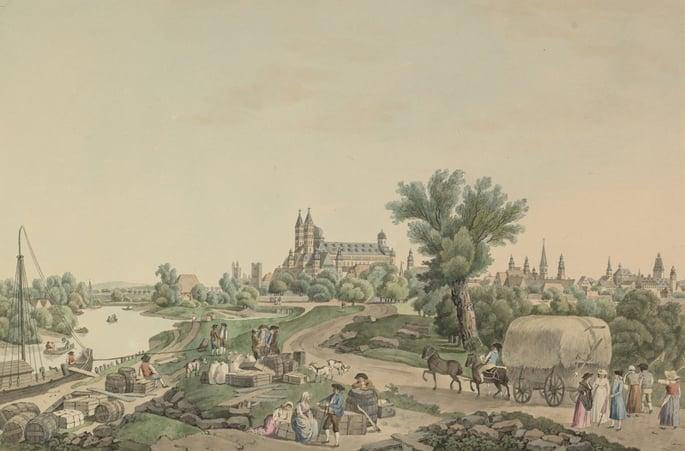 Uma pintura antiga que retrata a cidade alemã de Speyer.