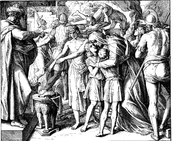 An illustration of Hashmonen martyrdom (Woodcut, Schnorr von Carolsfeld, 1860).