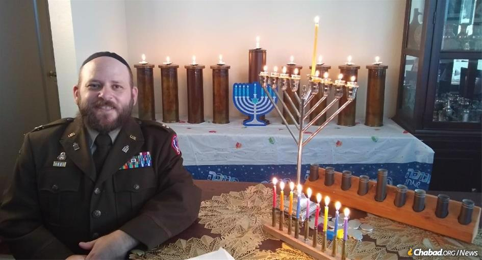 Rabbi (Capt.) Menachem Stern, a U.S. Army chaplain, prepares a Hannukah video for the U.S. military. This year an international Zoom event will unite U.S. miltary personnel around the world. (File photo: Aleph Institute)