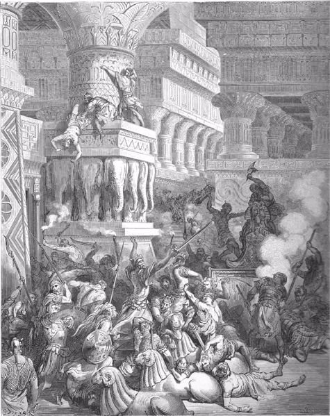 Yonatan and his army destroying a pagan temple (Gustave Dore, 1866)
