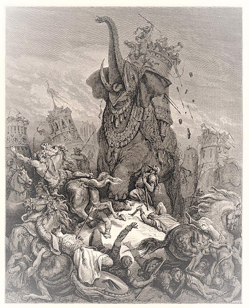 Artist's impression of the heroic death of Elazar (Gustave Dore, 1866)