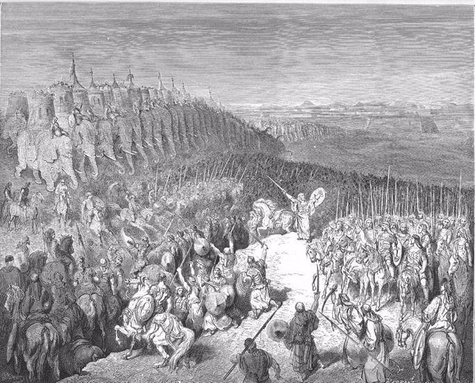 Yehuda leading the Maccabees in battle (Gustave Dore)