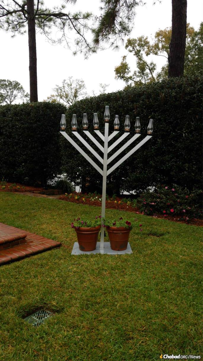 The menorah stands at the Governor's Residence in Tallahassee.