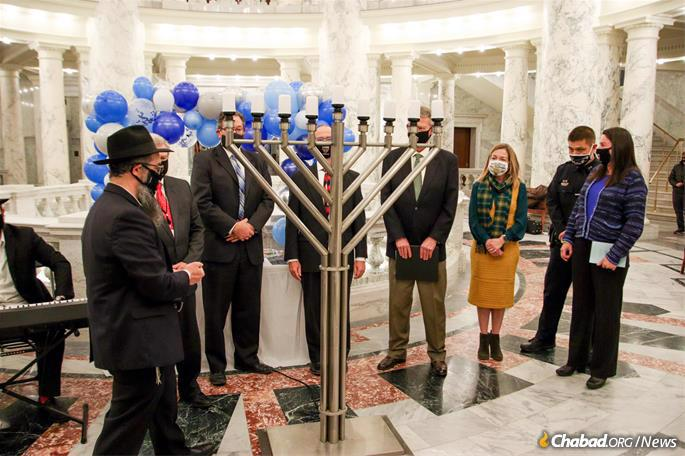 Chabad-Lubavitch Rabbi Mendel and Esther Lifshitz were joined by officials for the lighting of the menorah at the Idaho State Capitol.
