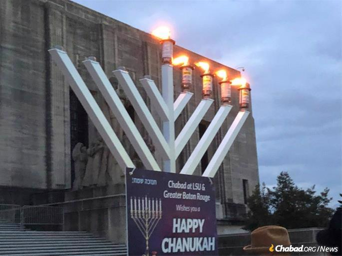 A menorah stands at the Louisiana State Capitol, placed by Chabad serving LSU & Greater Baton Rouge. (Credit: Chabad serving LSU & Greater Baton Rouge)