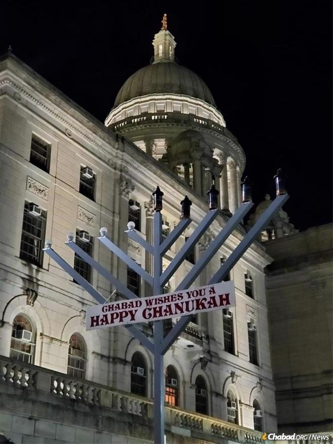 A car-menorah parade culminated at the Rhode Island State House, where a menorah was lit by representatives of Chabad-Lubavitch of Rhode Island.