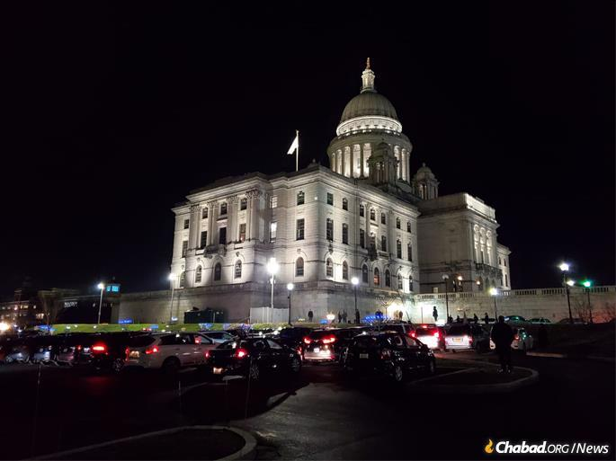 Cars menorahs convene at the Rhode Island Capitol for the menorah-lighting organized by Chabad-Lubavitch of Rhode Island
