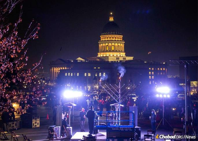 The Allyson Whit Gamble Memorial Menorah is shown kindled on the grounds of the Utah State Capitol in Salt Lake City. (Credit: Melissa Majchzrak for Chabad of Utah)
