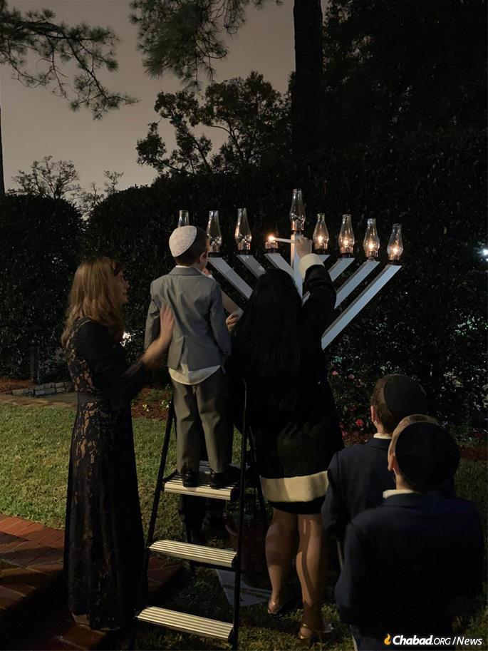 The menorah is kindled at the Governor's Residence in Tallahassee.