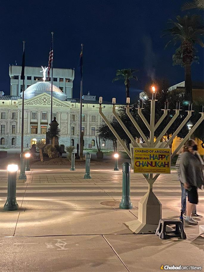 A menorah stands at the Arizona State Capitol, placed by Chabad of Arizona.