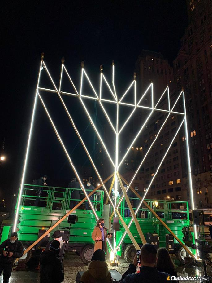New York Lt. Gov. Kathy Hochul joins the lighting of the world's largest menorah in New York City. The 36-foot world's largest menorah is a project of the Lubavitch Youth Organization and is part of Chabad-Lubavitch's worldwide Hanukkah campaign