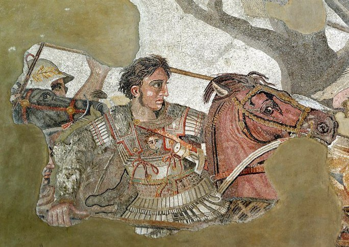 A detail from a floor mosaic originally from the House of the Faun in Pompeii, showing Alexander the Great battling Darius III of Persia.