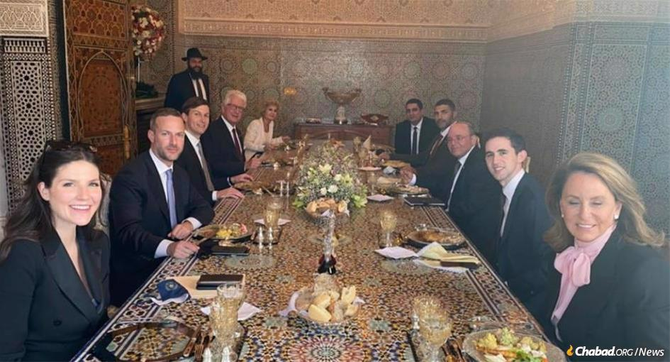 Rabbi Levi Banon, back left, with a delegation of American and Israeli dignitaries who visited the palace in Rabat last week for an overnight stay.