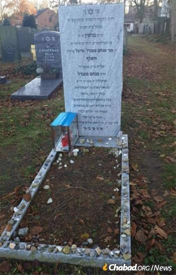 The resting place in Hanover of Rabbi Binyamin Wolff, who passed away this year at the age of 43.