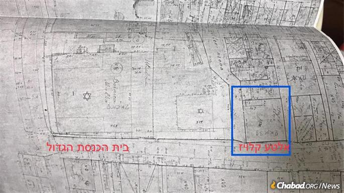 A Polish tax map pointing to the location of the Alter Kloyz, the old study house.