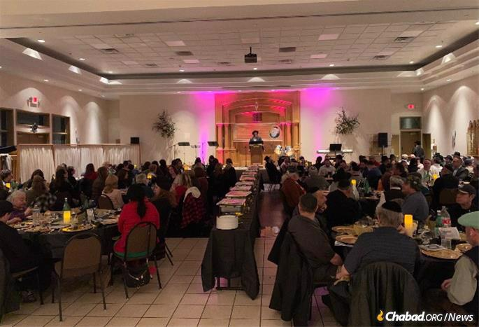 A Jewish community event held in the sanctuary of the Dr. Miriam and Sheldon G. Adelson Chabad Center.