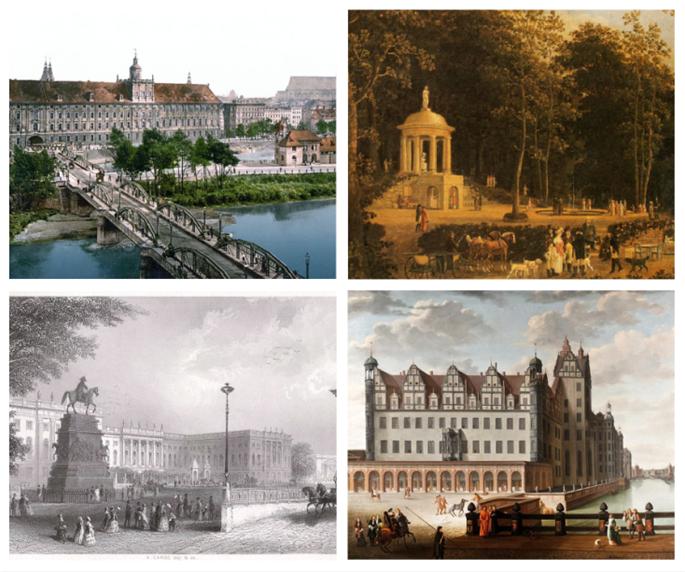 Clockwise from top left: University of Breslau, Erfurt, Berliner Schloss - the Prussian palace, and Berlin.
