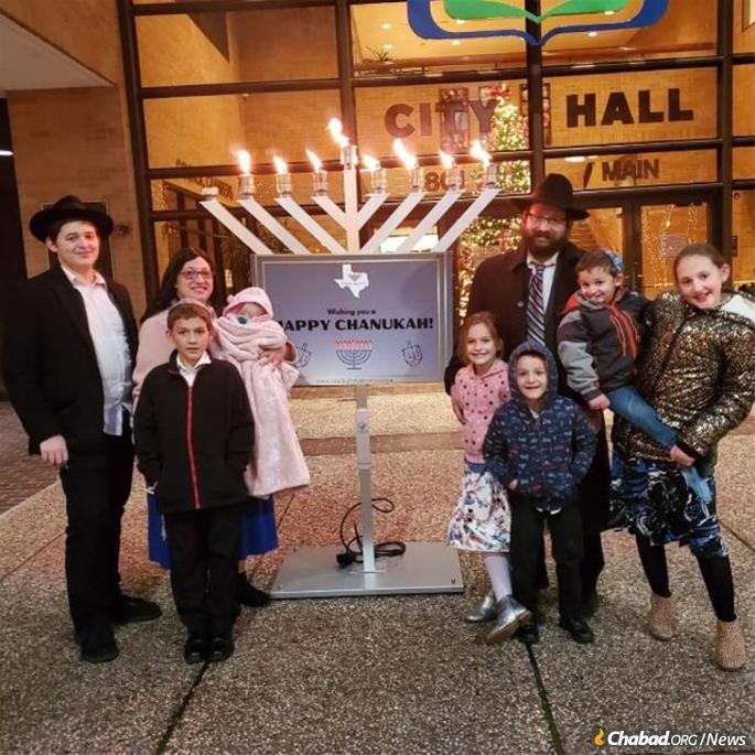 The Kaufmann family at the first public menorah-lighting in Beaumont, Texas.