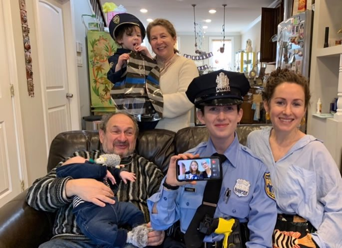 Furman family celebration in honor of Michal becoming a police officer. Pictured: Marina, Lev, Michal, Aliya and grandchildren Coby and Zeev.