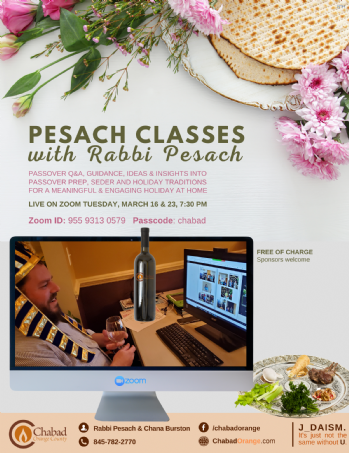 Pesach Classes with Rabbi Pesach