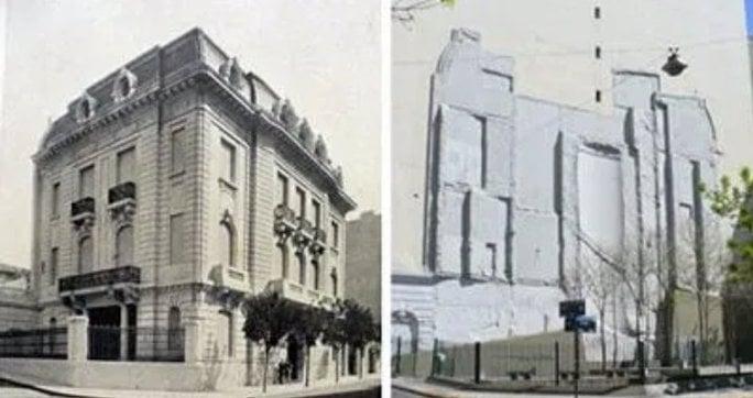 La embajada de Israel en la calle Ayacucho en la ciudad de Buenos Aires antes y despues del atentado.