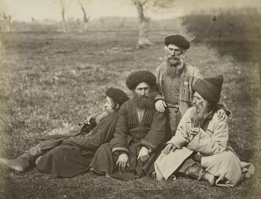 Mountain Jews of Kavkaz region resting after a day of work.