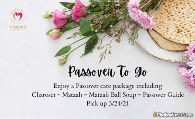 Passover-to-go packages were available for community members.