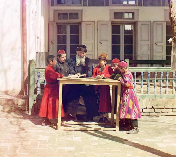 Bukharan children engage in Torah study (credit: Sergey Prokudin-Gorsky)