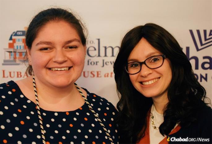 Vikki Kalbacher, left, with Nechama Haskelevich, co-director of Chabad at the University of Pennsylvania.