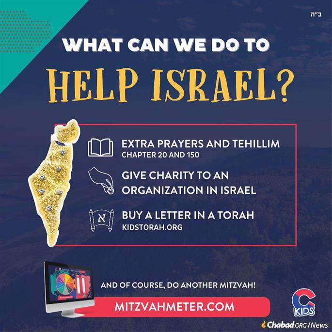 In light of the ongoing attacks on Israel, CKids set aside a special subdivision of the Mitzvah Meter campaign encouraging children to add extra mitzvot to their daily regimen as a means to ensure the physical safety of Jews everywhere.