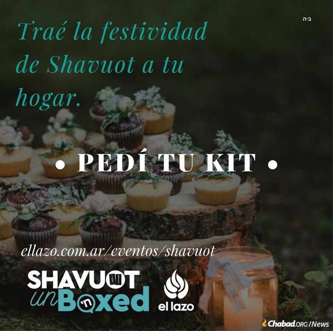 Shavuot kits from Chabad in Buenos Aires, where many are still homebound due to the pandemic.