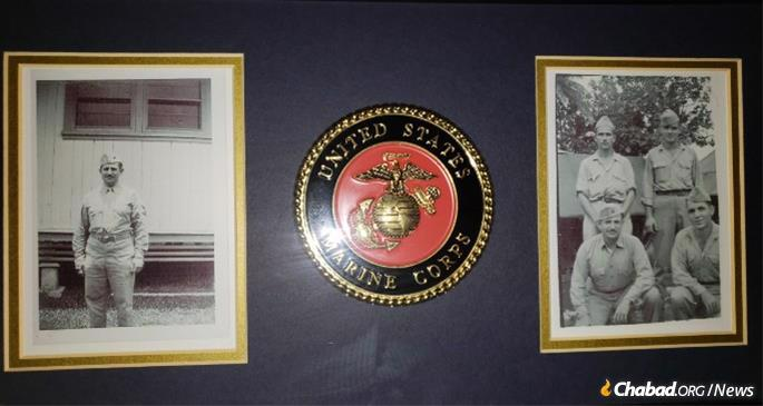 A proud memento of service as a U.S. Marine hangs in the Haller home.