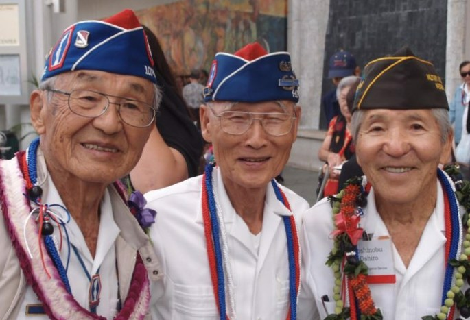 """""""Go for Broke"""" Soldiers of World War II on receiving a Congressional Gold Medal. (Photo: Shari Tamashiro and the Hawaiii Nisei Project)"""