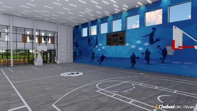 Gym and basketball court (Artist rendering)