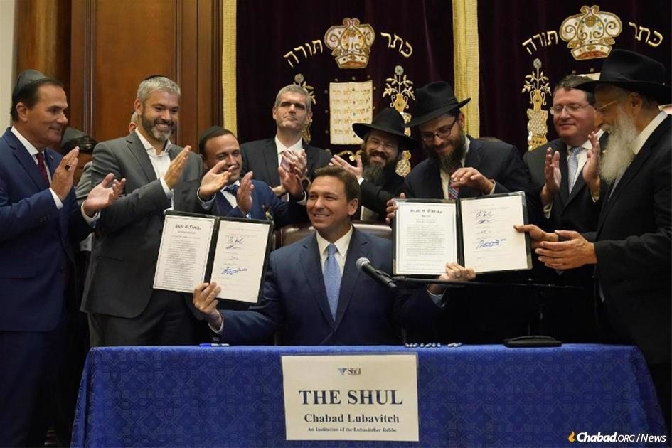 Gov. Ron DeSantis of Florida after signing the state's Moment of Silence bill into law. (Credit: American Friends of Lubavitch Chabad)
