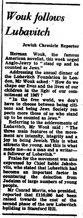 Jan. 22, 1971, London Jewish Chronicle report on Herman Wouk's talk at the Lubavitch Foundation's benefit dinner.