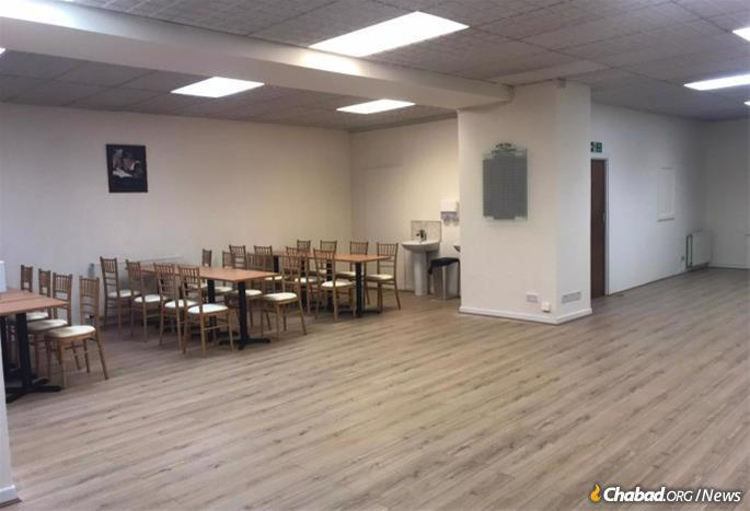 Chabad's new building, now undergoing extensive renovations, will include a beautiful synagogue space, a student dining hall, commercial kitchen, library and plenty of office space.