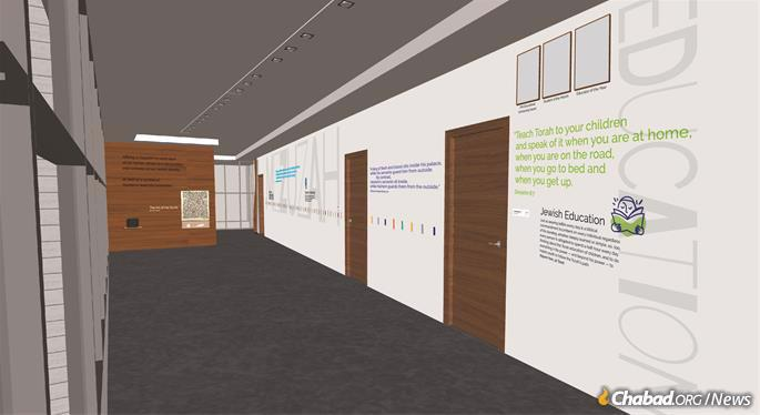 Lessons on the wall of the center's second floor (Artist rendering)
