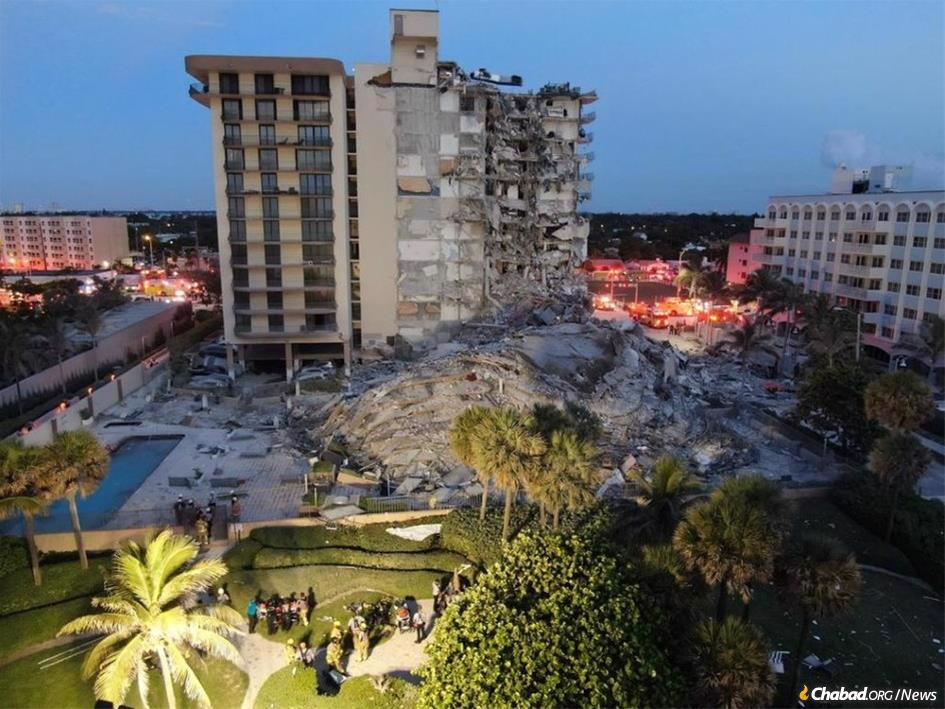 The 12-story residential building that collapsed in the early-morning hours on June 24 in Surfside, Fla. (Photo: Miami-Dade Fire Rescue)