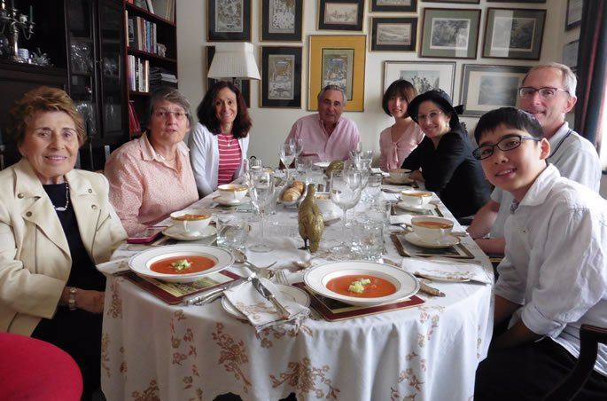 Our Tisha B'Av Luncheon. (L-R): My mother, cousin, sister, uncle, daughter (Shoshanah), me, my cousin, and son (Akiva).