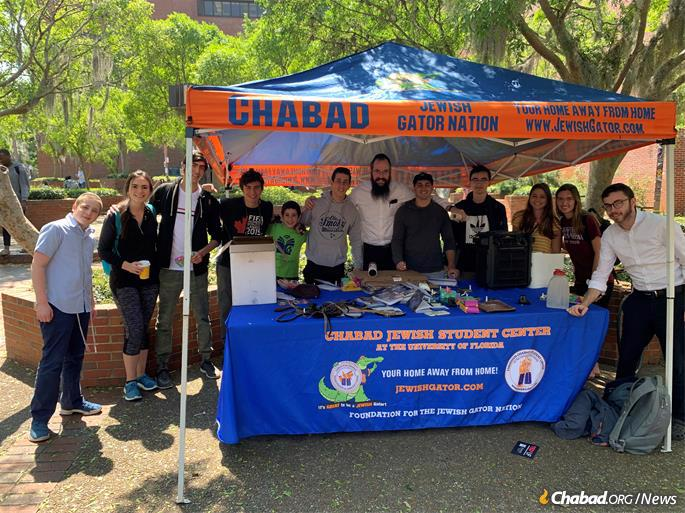 Rodan, third from left, at a Chabad event on campus.