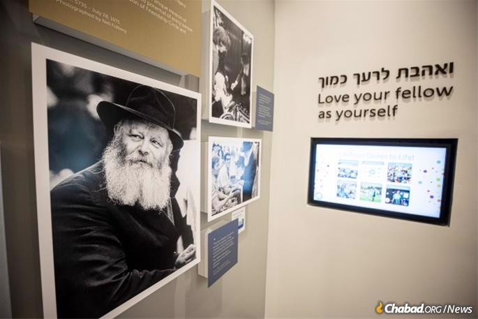 The exhibit contains a collection of images of the Rebbe, including interactions with children and with injured soldiers of the Israel Defense Forces. It also includes an interactive video kiosk where visitors can watch videos of the Rebbe.