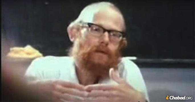 Rabbi Adin Steinsaltz, still from a video taken in the mid 1960s. Much later, in 1989, Steinsaltz was advised by the Rebbe to take a Hebrew surname, and he chose the name Evan-Israel.