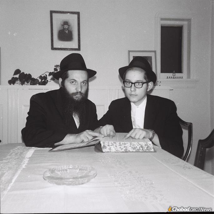 With his son, Yosef Aronow.