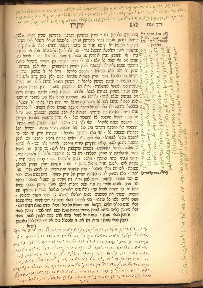 Uma página das anotações do Rabino Levi Yitzchak sobre o Zohar, escritas no exílio com tinta preparada por sua esposa, Rebetsin Chana. Observe as várias cores dessa tinta caseira.