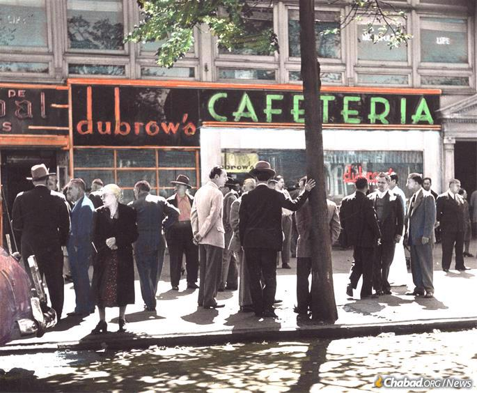 A colorized 1940s photo of Dubrow's Cafeteria, a Jewish dairy chain restaurant that once stood at the corner of Eastern Parkway near Utica Avenue. (Credit: Brian Merlis Collection / oldNYCphotos.com)