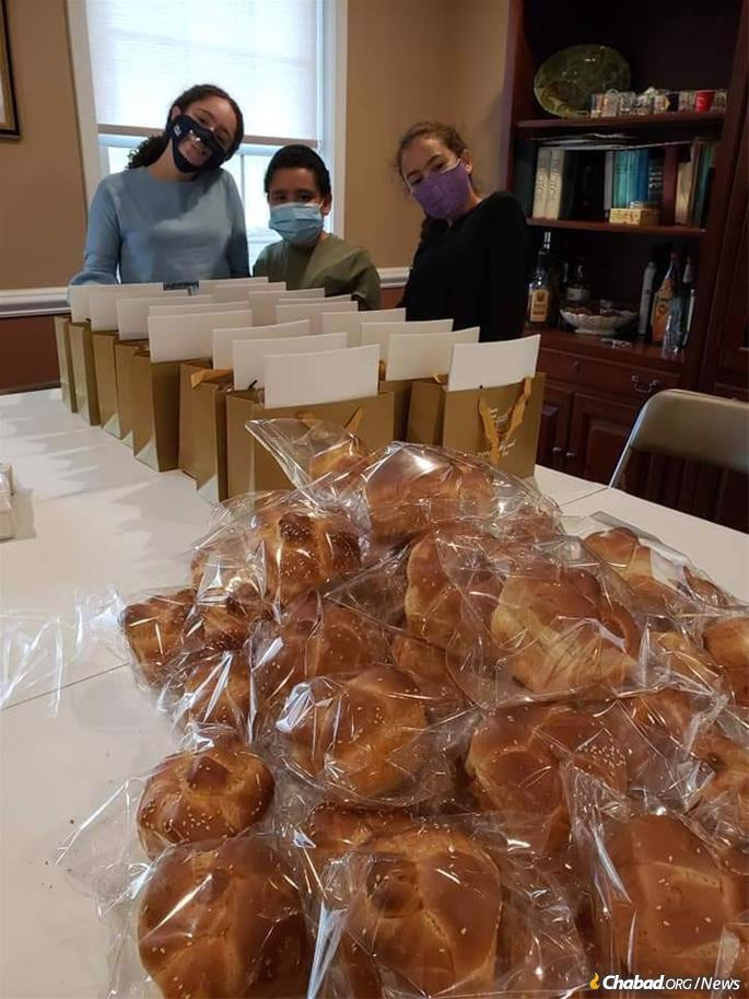 Rosh Hashanah-to-go kits are prepared at Chabad of the Nyacks in Rockland County, N.Y.